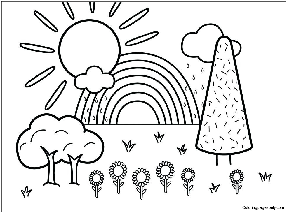 Summer Scene Coloring Page - Free Coloring Pages Online