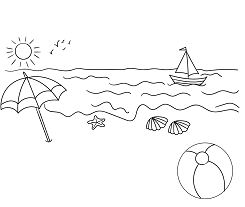 Summer Seaside Coloring Page