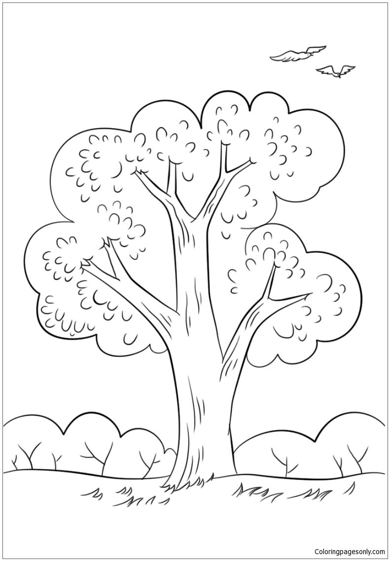 Summer Tree Coloring Page - Free Coloring Pages Online