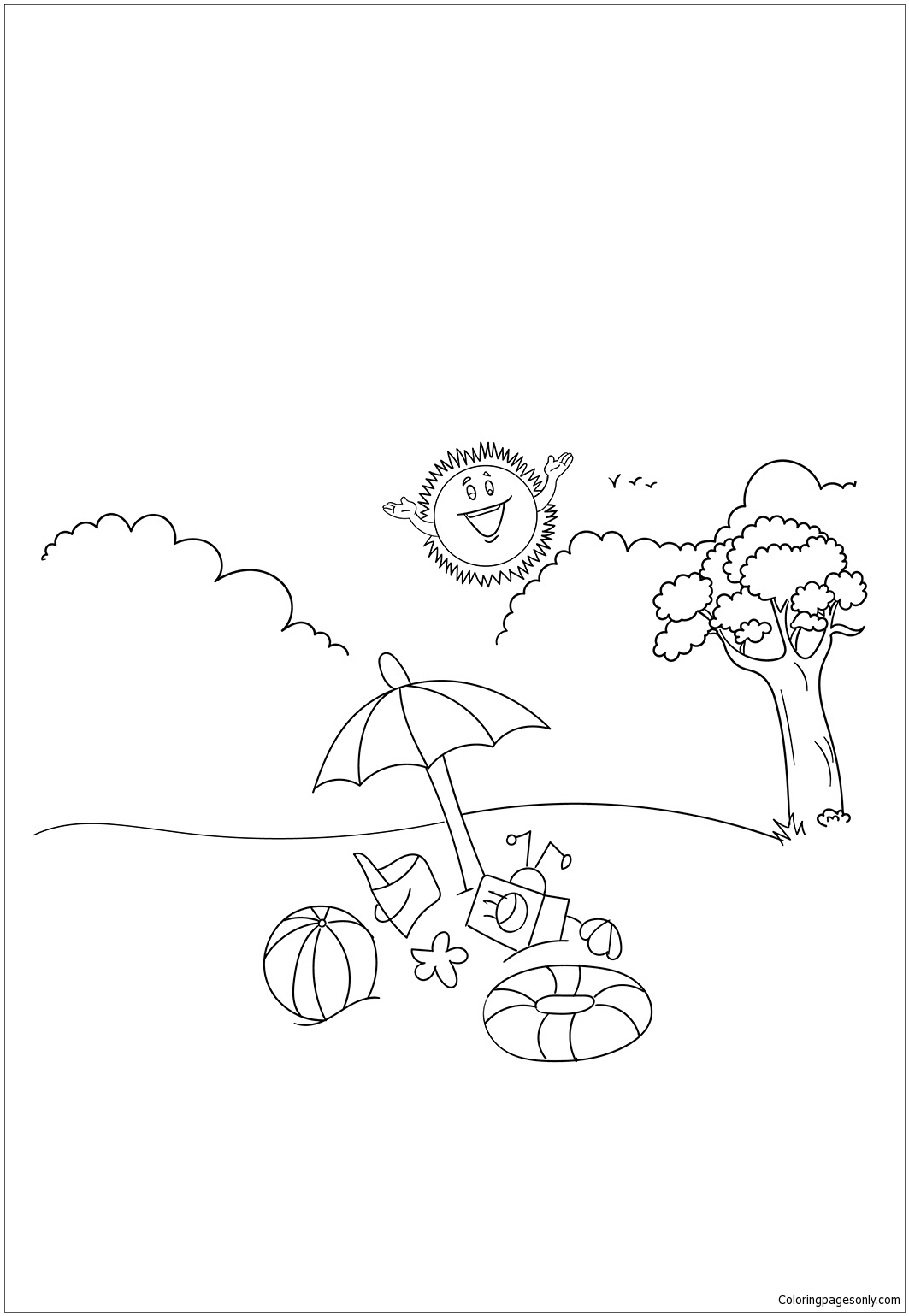 Summer vacation coloring page free coloring pages online for Summer vacation coloring pages