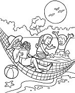 Summer with your friends and family Coloring Page