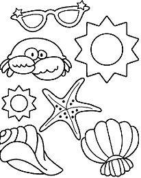 Sun And Sand At The Beach Coloring Page