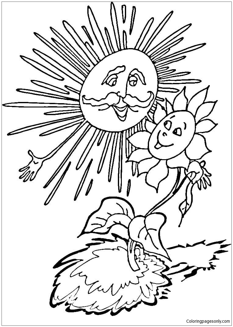 Sun And Sunflower Coloring Page