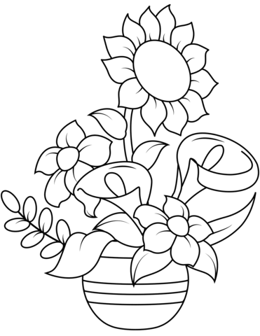 Sunflower and Callas Coloring Page