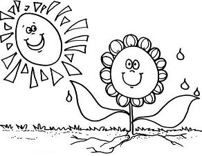Sunflower In The Spring Coloring Page