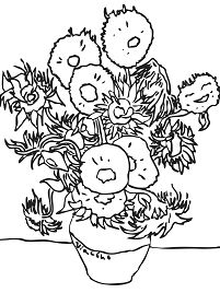 Sunflowers By Vincent Van Gogh Coloring Page