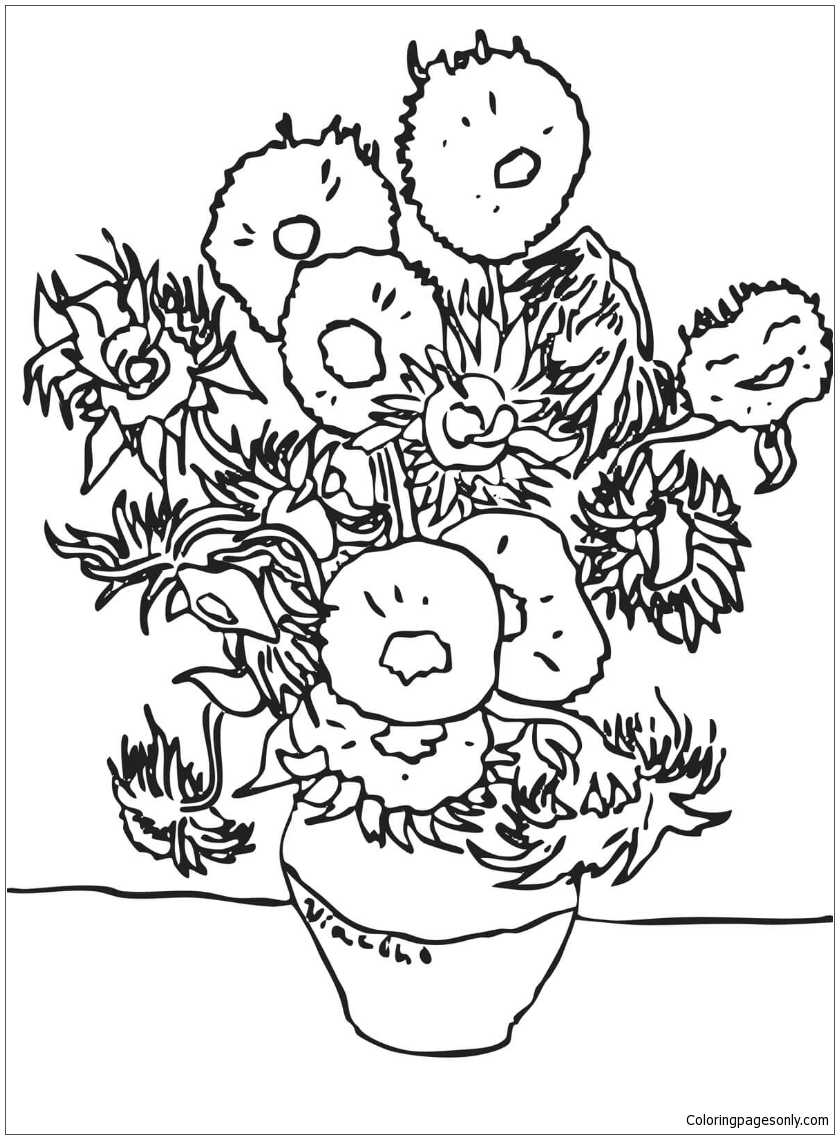 Sunflowers By Vincent Van Gogh Coloring Page Free