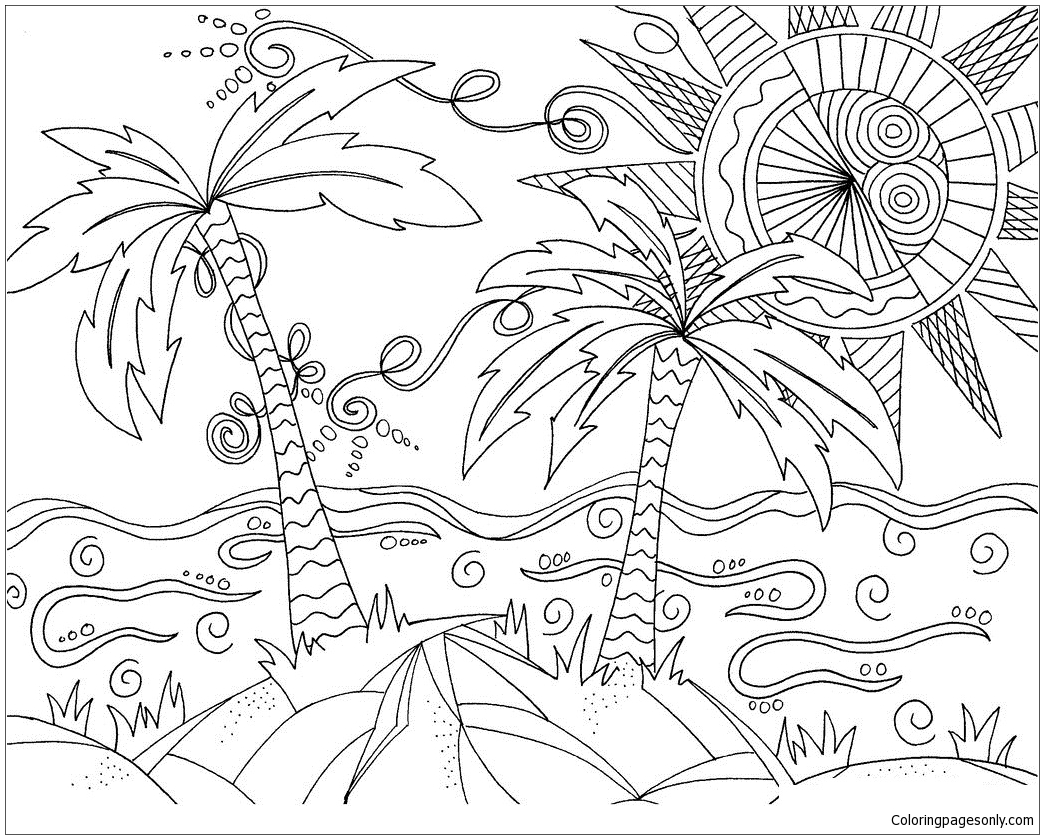 Sunny Beach Coloring Page - Free Coloring Pages Online
