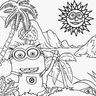 Sunny day stifling banana plantation of Minion