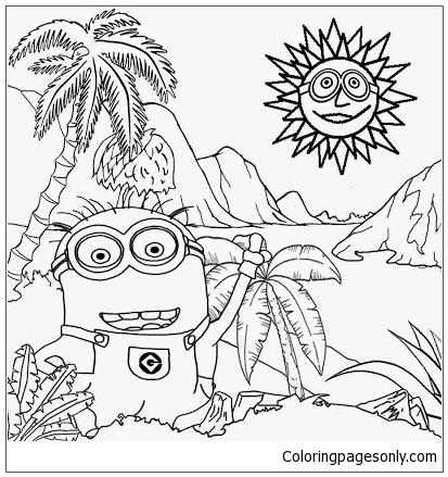 Sunny Day Stifling Banana Plantation Of Minion Coloring Page