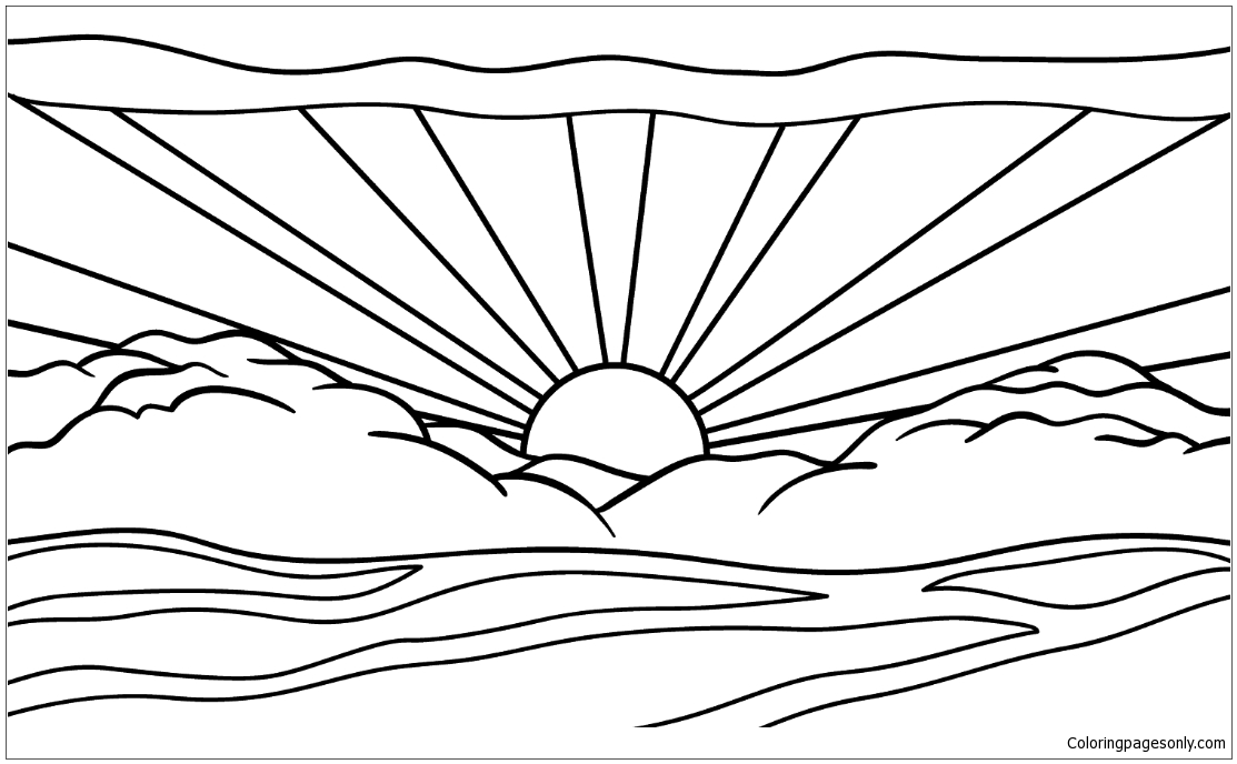 Sunrise By Roy Lichtenstein Coloring Page Free Coloring