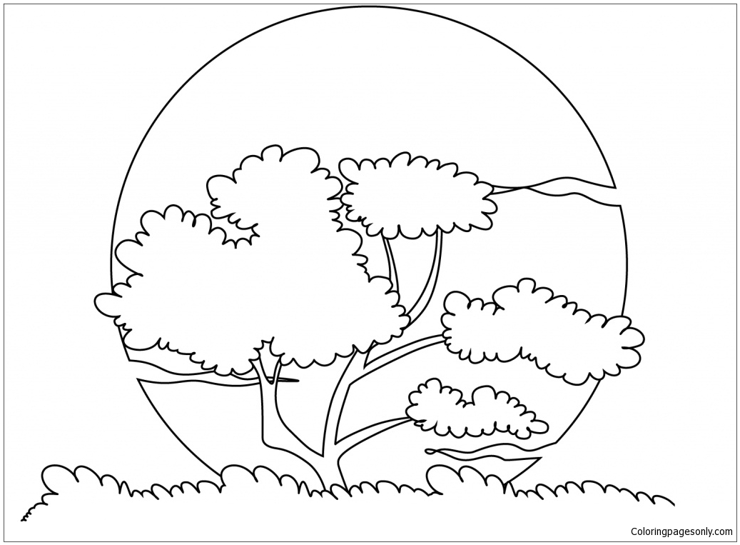 Sunset Sun Nature Coloring Page