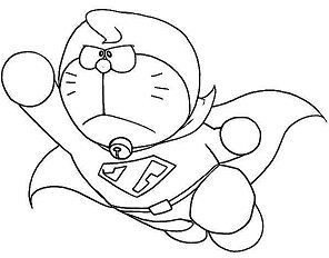 Doraemon Is Reading The Book Coloring Page