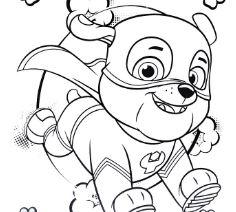 Super Hero Rubble Paw Patrol Coloring Page