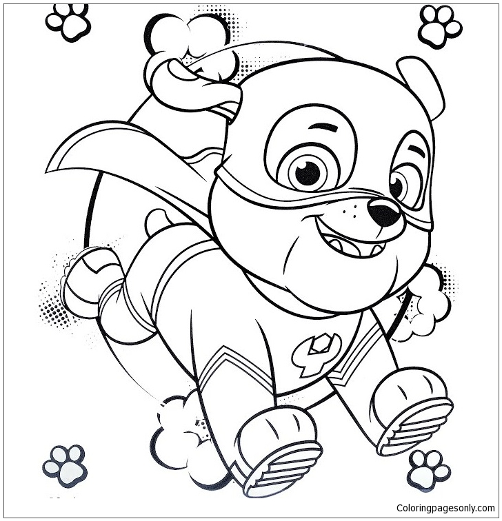Super Hero Rubble Paw Patrol Coloring