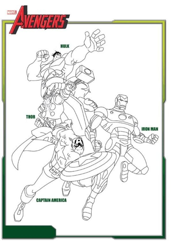 Super heroes Hulk, Thor, Iron Man and Captain America Coloring Page