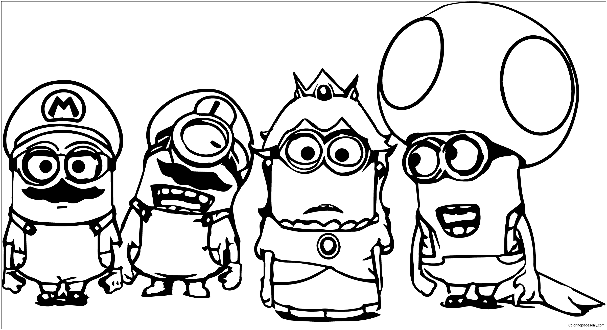 Super Mario Minions Coloring Page - Free Coloring Pages Online