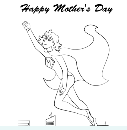 Super Mom Coloring Page