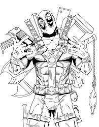 Superhero Deadpool Coloring Page