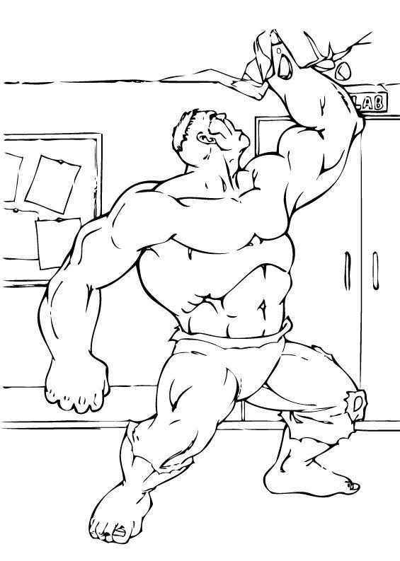 Superhero Hulk Breaking The Ceiling Coloring Page