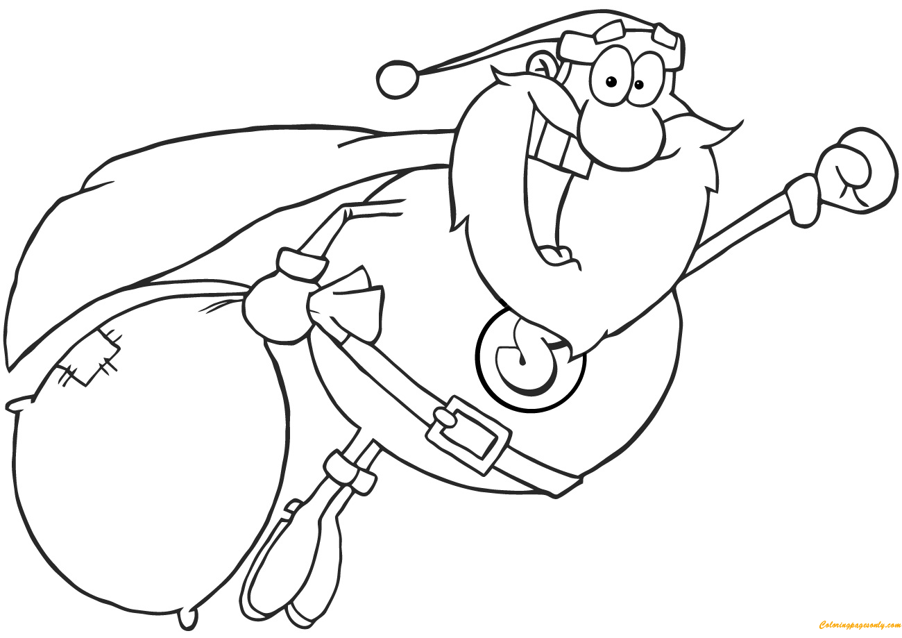Superhero Santa Claus Fly Coloring Page