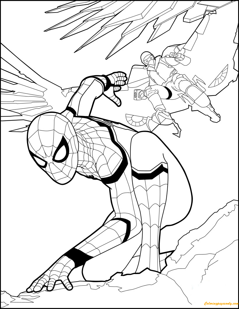 Superhero Spiderman Home Ing Coloring Page Free Coloring