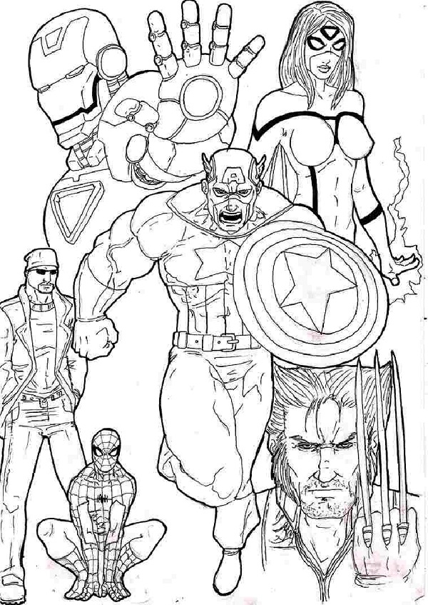 Superhero Team Avengers Coloring Page