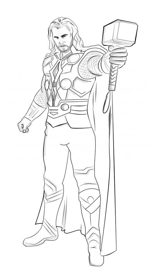 Superhero Thor With Hammer Coloring Page