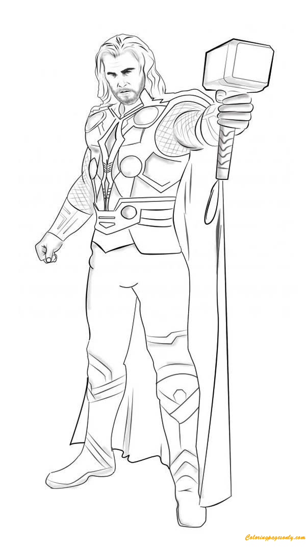 Superhero Thor With Hammer Coloring Page - Free Coloring ...
