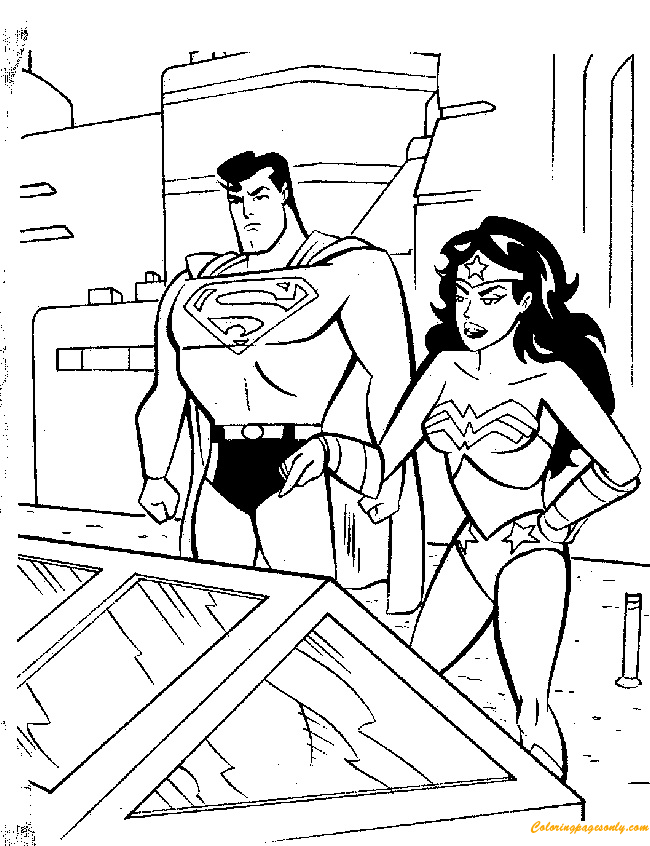 Superman And Wonderwoman Discussing Coloring Page