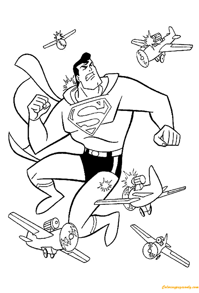 Superman Fighting With Planes Coloring Page