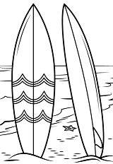 Surfboards On Beach Coloring Page