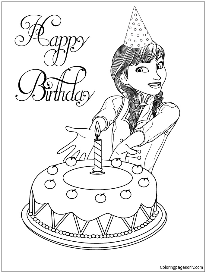 Surprise Birthday Cake From Anna Coloring Page Free