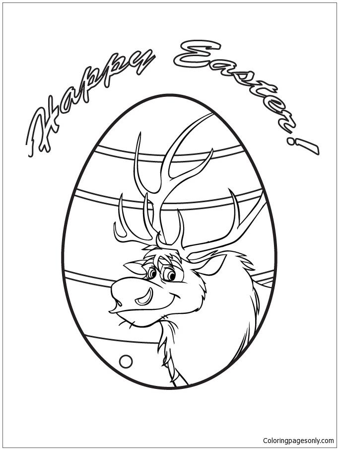 Sven Easter Egg Design Coloring Page