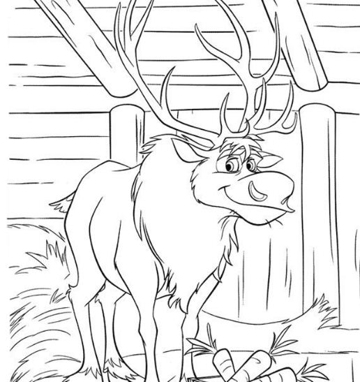Sven Loves Carrots Coloring Page