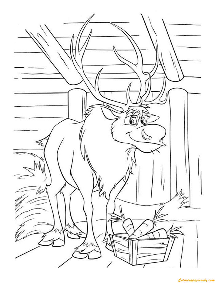 Sven Loves Carrots Coloring Page - Free Coloring Pages Online