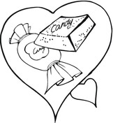 Sweet Chocolate Candy In a Heart Coloring Page
