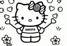 Sweet Hello Kitty Coloring Page