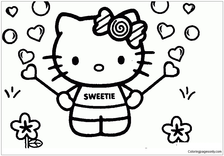 Sweet Hello Kitty Coloring Pages