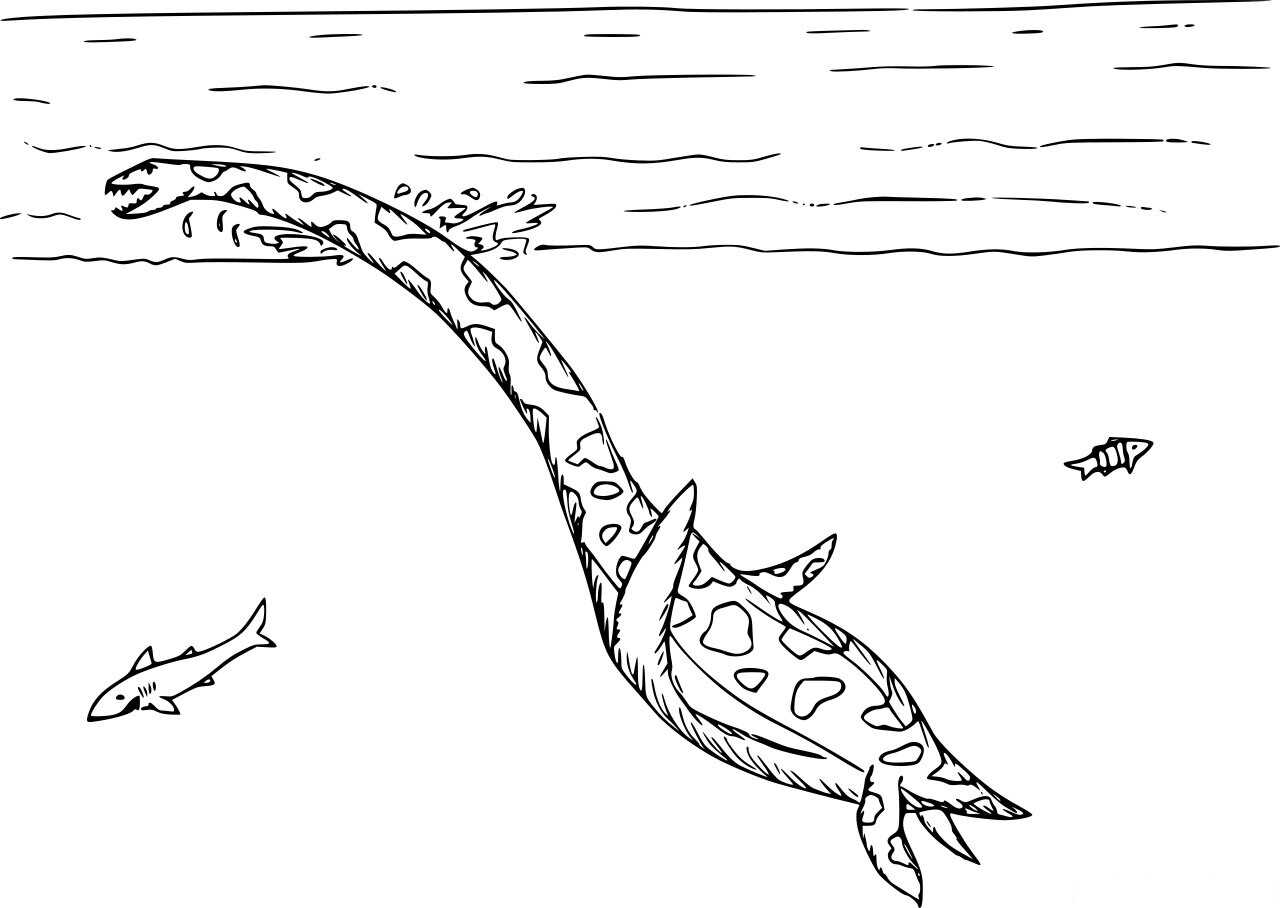 Swimming Plesiosaurus Dinosaur with some fish Coloring Page