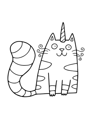 Tabby Caticorn Coloring Page