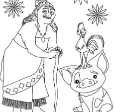 Tala And Pua Pig From Moana Coloring Page