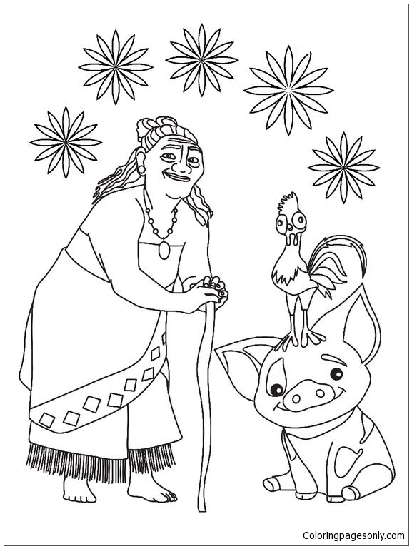 Tala And Pua Pig From Moana Coloring Pages