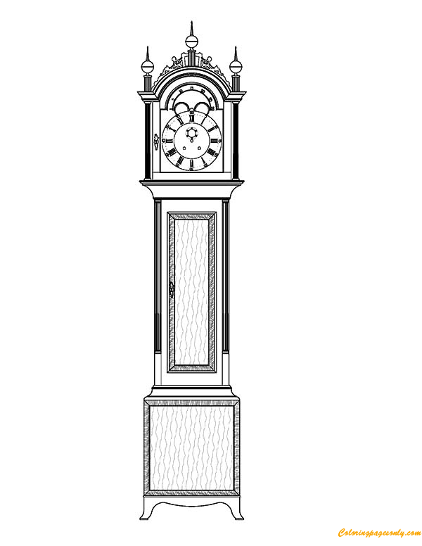 Tall Case Grandfather Clock Coloring Page Free Pages Online