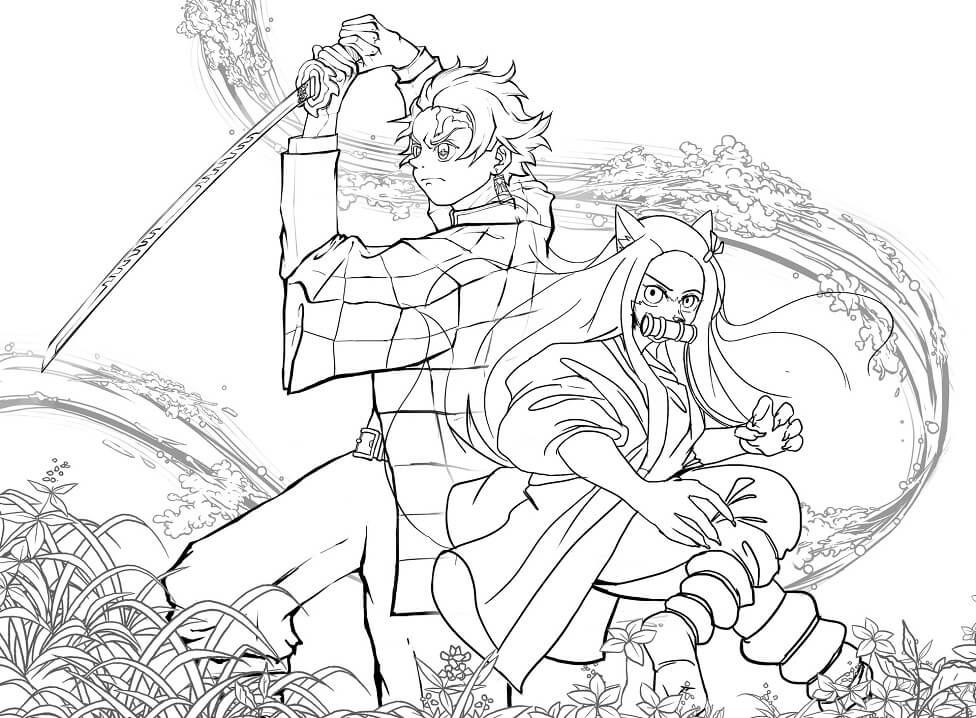 Tanjiro and Nezuko Art Coloring Page