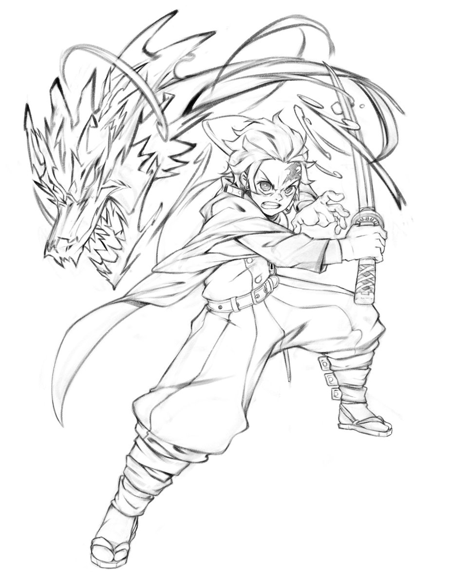 Tanjiro fights against the demon Coloring Page