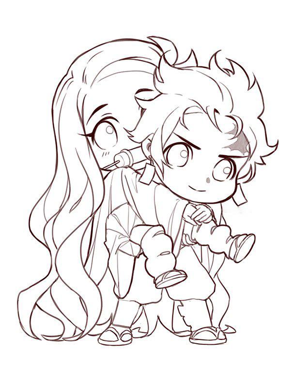 Tanjiro piggyback Nezuko Coloring Page