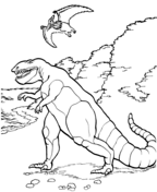 Tarbosaurus And Pteranodon