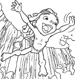 Tarzan Small Waterfall Coloring Page
