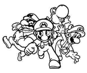 Team Mario Party Coloring Page